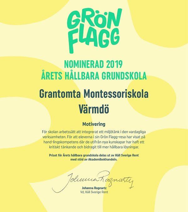 Grön Flagg – Grantomta Montessoriskola Värmdö nominerad till årets hållbara grundskola